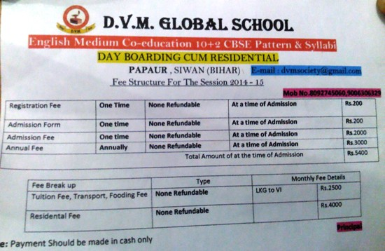 DVM GLOBAL SCHOOL FEE STRUCTURE