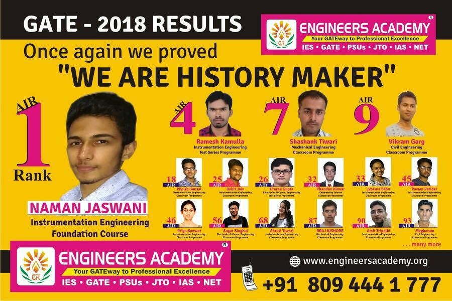 ENGINEERS ACADEMY GATE 2018 RESULTS